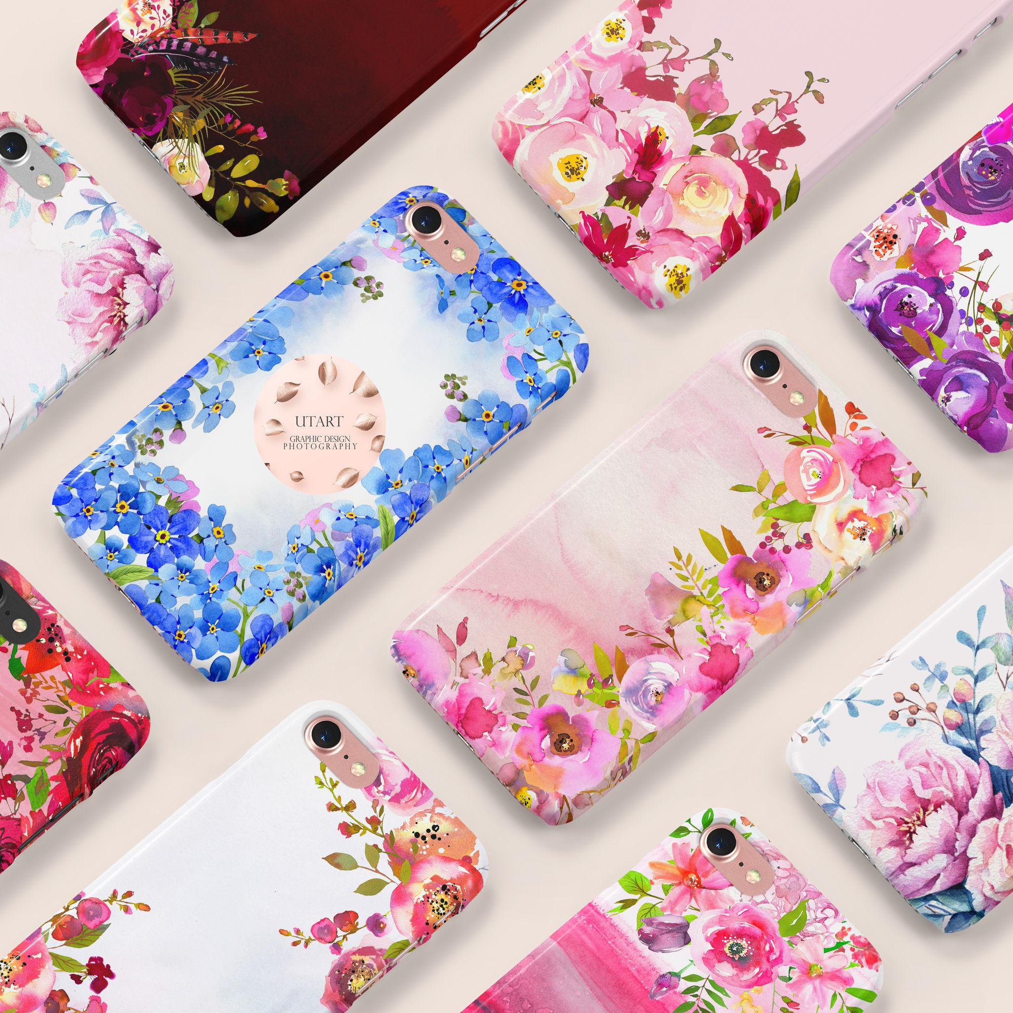UTART Flower Watercolor Phone Cases