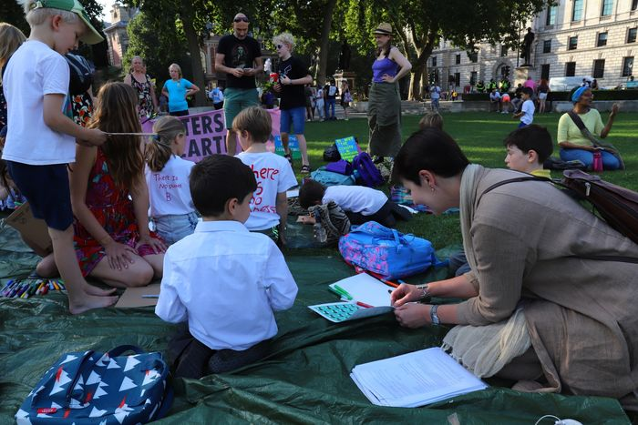 Children's Lobby at Parliament Square launches Letters to the Earth COP26 Campaign