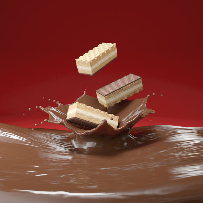 chocolate-Splash for concept and 3D-illustration for cookies-packaging and print-campagne