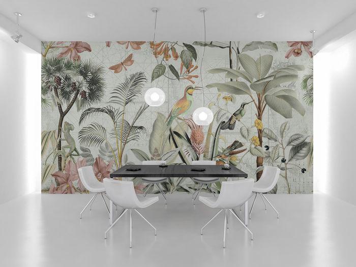 Vintag Jungle Illustration Wall Mural