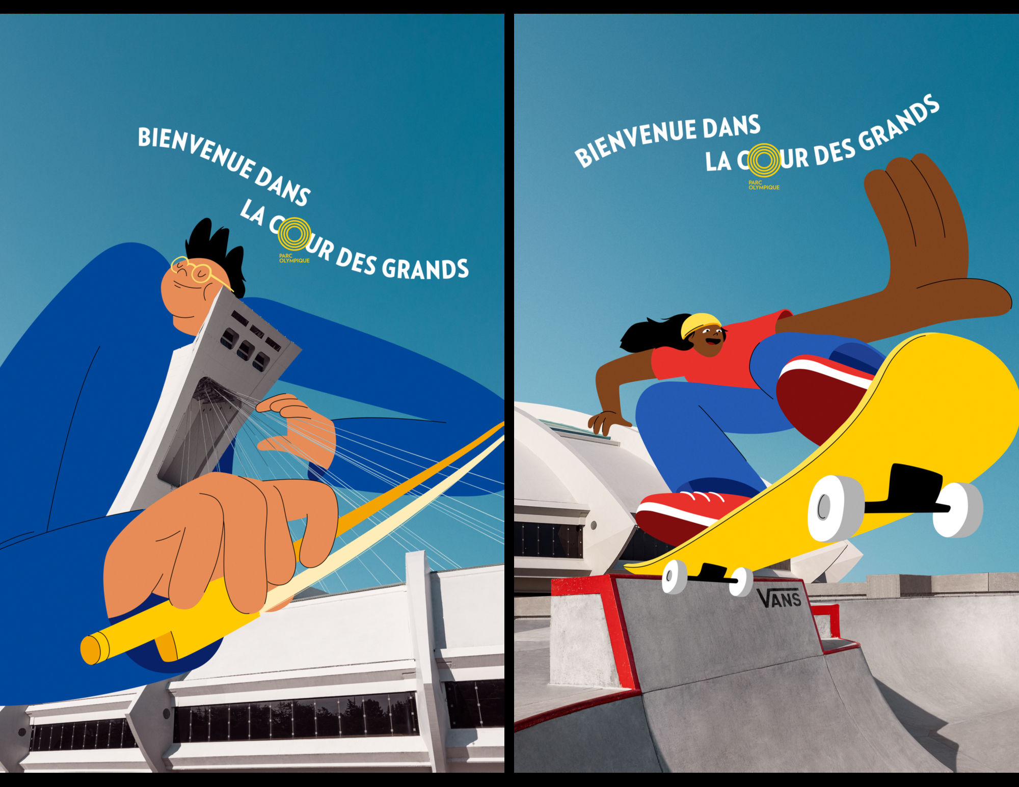 The Olympic Park Montreal reveals its new campaign, Welcome to the giant's playground ! Illustrations by Cécile Gariépy c/o JSR AGENCY