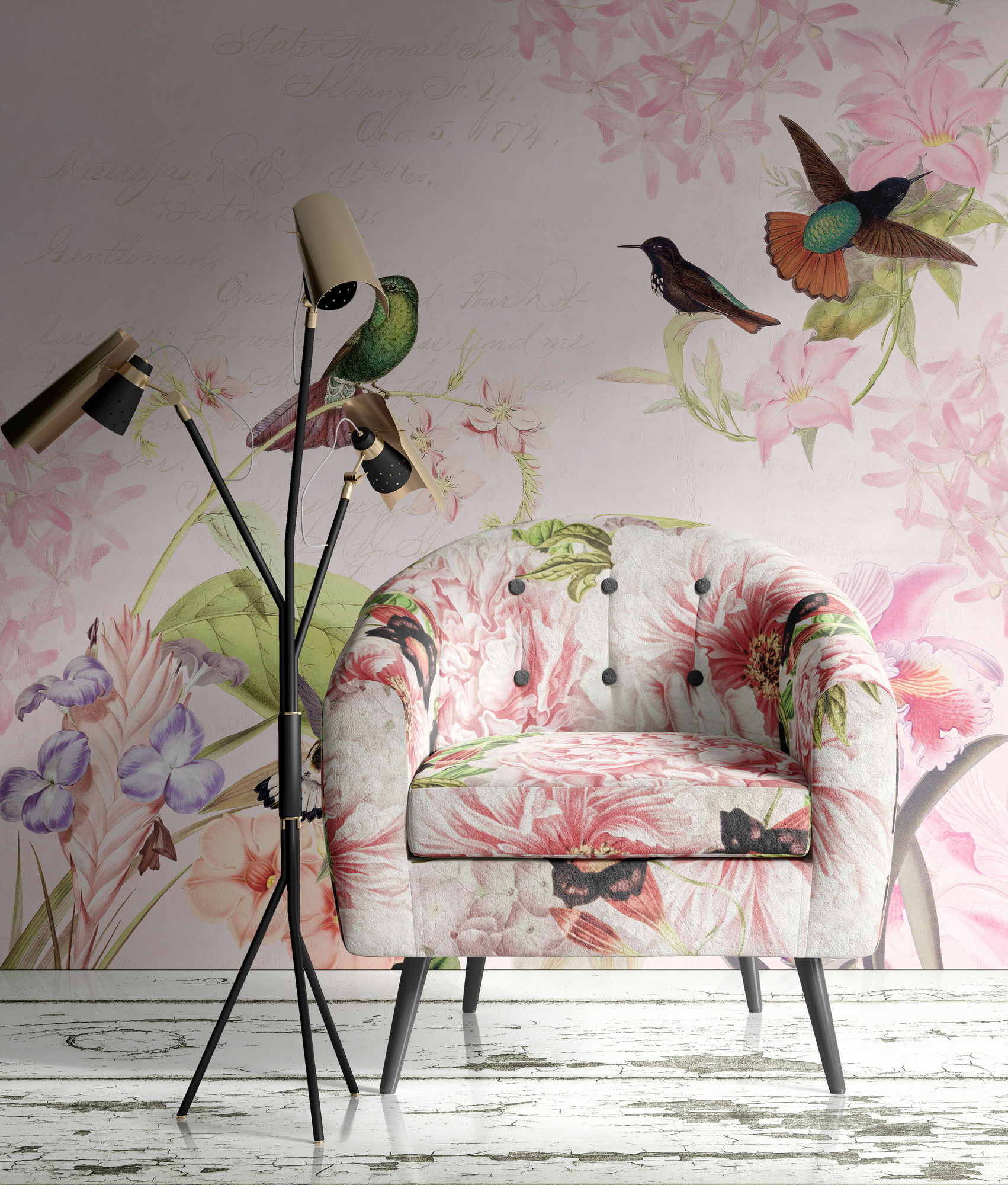 UTART Vintage Hummingbird and Flower Wallmural