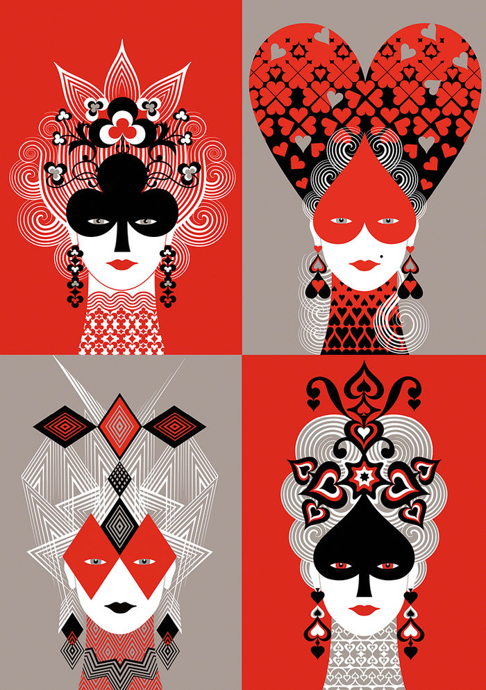 BALBUSSO TWINS  Queens Cards collection, surface - product design Society6.com