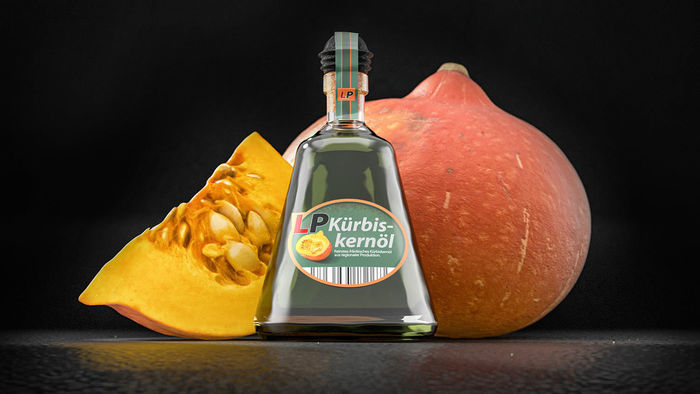 upcoming pumpkin 3D model with 3D Bottle of pumpkin oil  •  RALF KUNSTMANN ILLUSTRIERT...