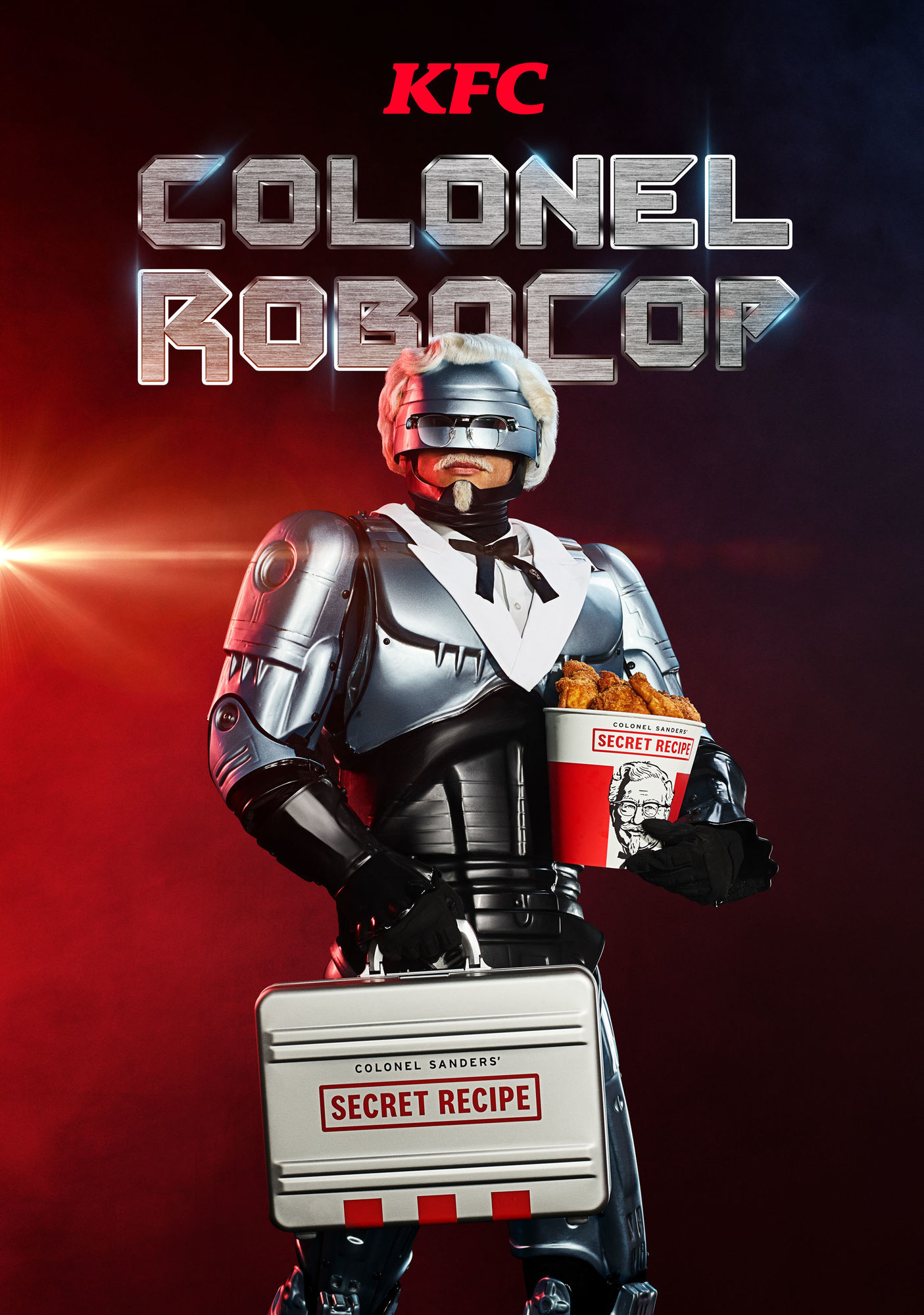 Emily Shur c/o GIANT ARTISTS immortalizes the latest incarnation of the Colonel from Kentucky Fried Chicken - Colonel RoboCop.