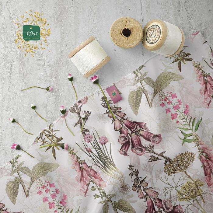 Vintage Garden Botanicals With Foxgloves And Other Herbs Pattern