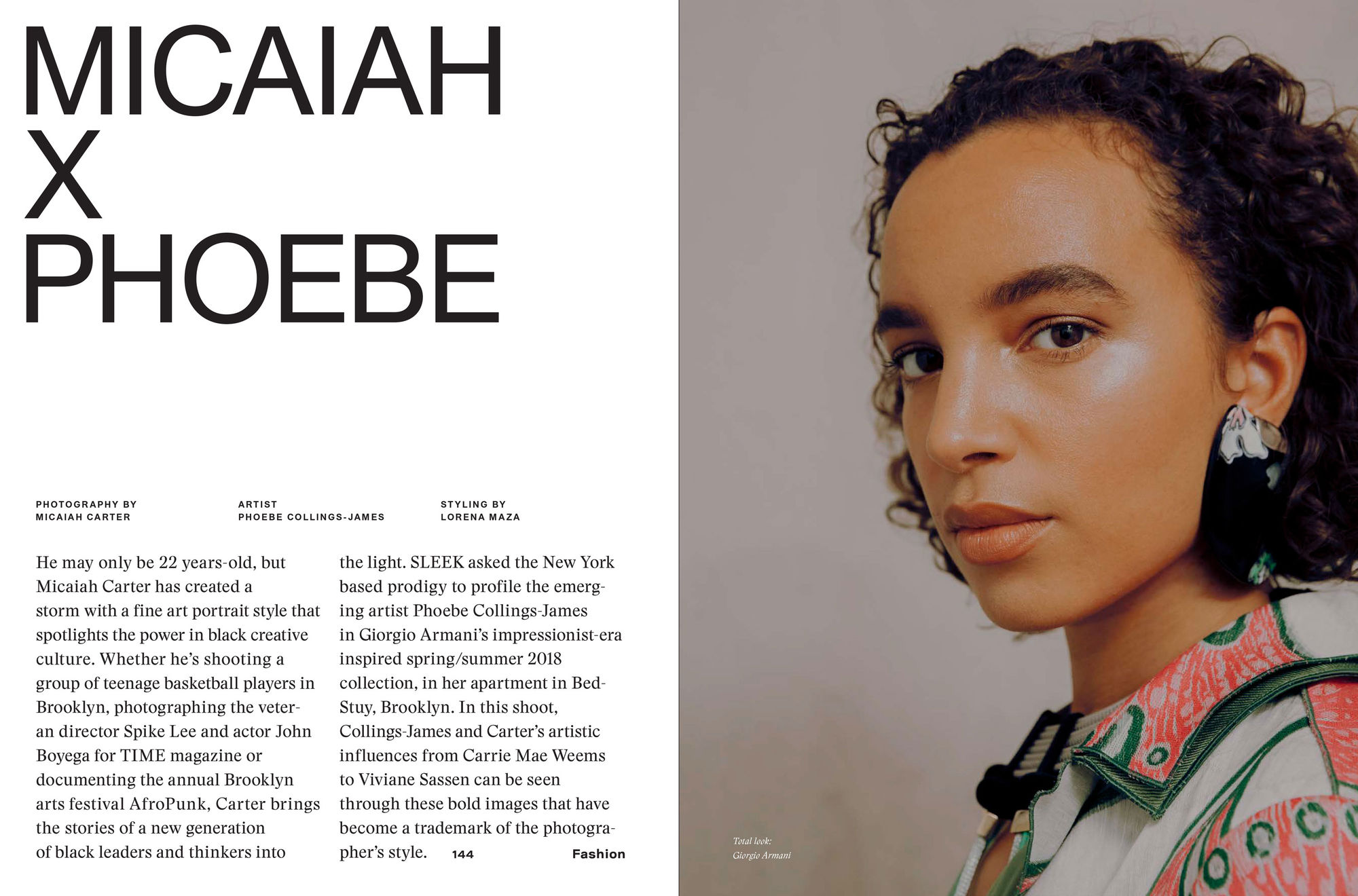 MICAIAH CARTER c/o GIANT ARTISTS photographed visual artist Phoebe Collings-James sporting the latest Giorgio Armani looks for Sleek Magazine
