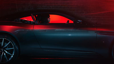 """THE UNKNOWN"" by MARC TRAUTMANN – A personal work with laser lights and the James Bond car Aston Martin DB 11 shot in London"