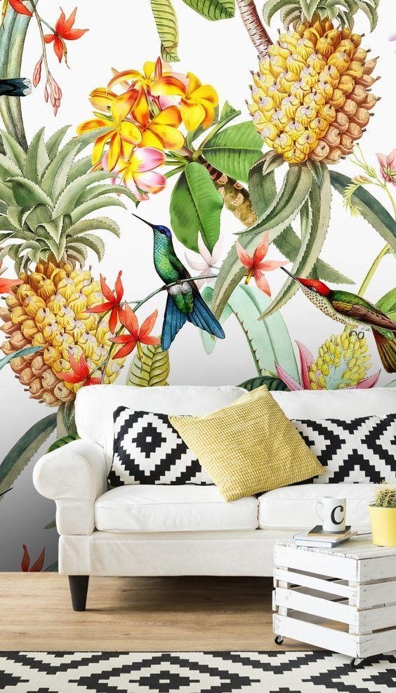 UTART Floral Pineapple Wallmural
