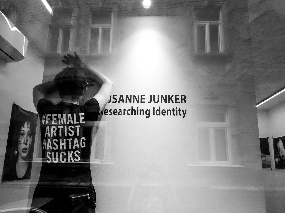 Installation view at Laufer Art Gallery, Belgrade, Serbia. Susanne is wearing her #femaleartisthashtagsucks t-shirt.