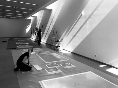 ESTHER HAASE ... preparing the exhibition