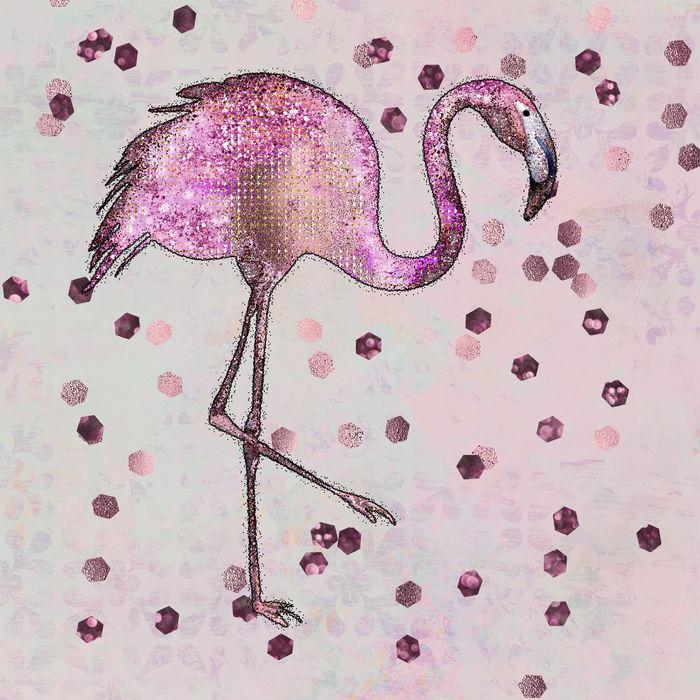 Flamingo Glitter Mixed  Media Art