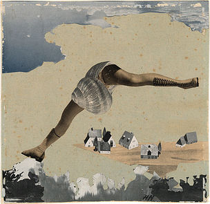 DIE ANDERE SEITE DES MONDES : Hannah Höch, Siebenmeilenstiefel, um 1934, Photomontage, 22,9 x 32,29 cm, Hamburger Kunsthalle, Kupferstichkabinett, © VG Bild-Kunst, Bonn 2011, Foto: Christoph Irrgang