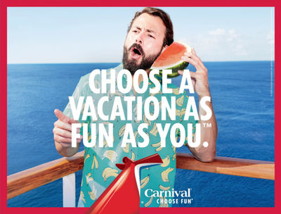 "TOM VAN SCHELVEN c/o  GIANT ARTISTS  ""CHOOSE FUN"" CAMPAIGN - CARNIVAL CRUISE"