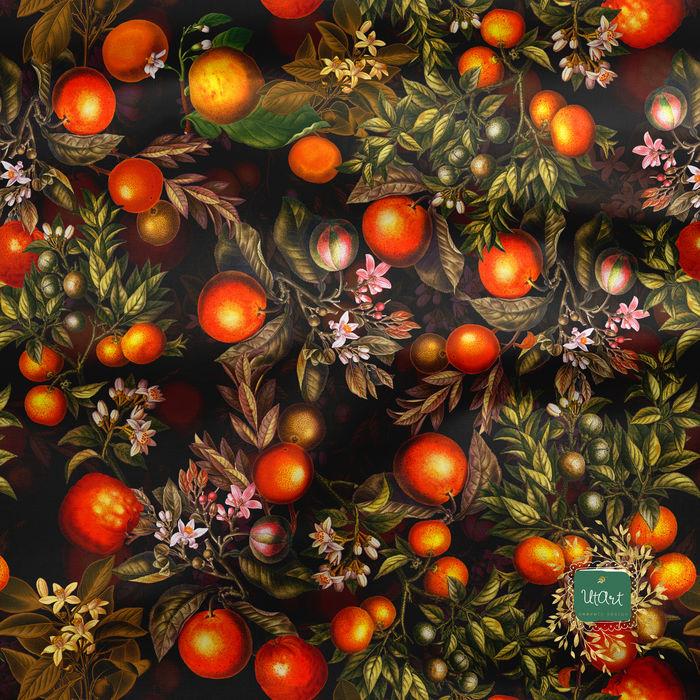 Vintage Sepia Citrus Fruits Pattern