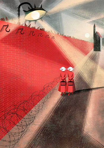 BALBUSSO TWINS The red wall , The Handmaid's Tale by Margaret Atwood