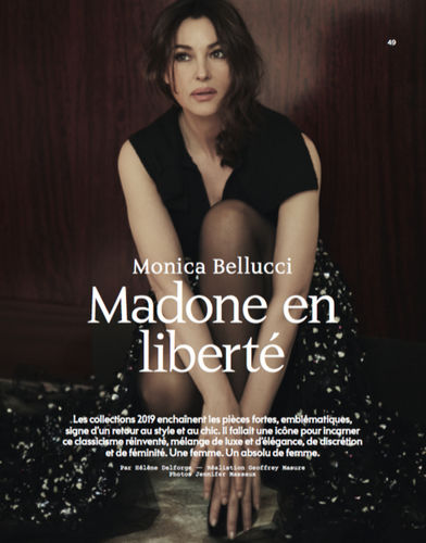 SMART:  Monica Bellucci, shot by Jennifer Massaux, fashion Editor Geoffrey Masure and produced by Ariane de siron, Paris, Hyatt Vendome