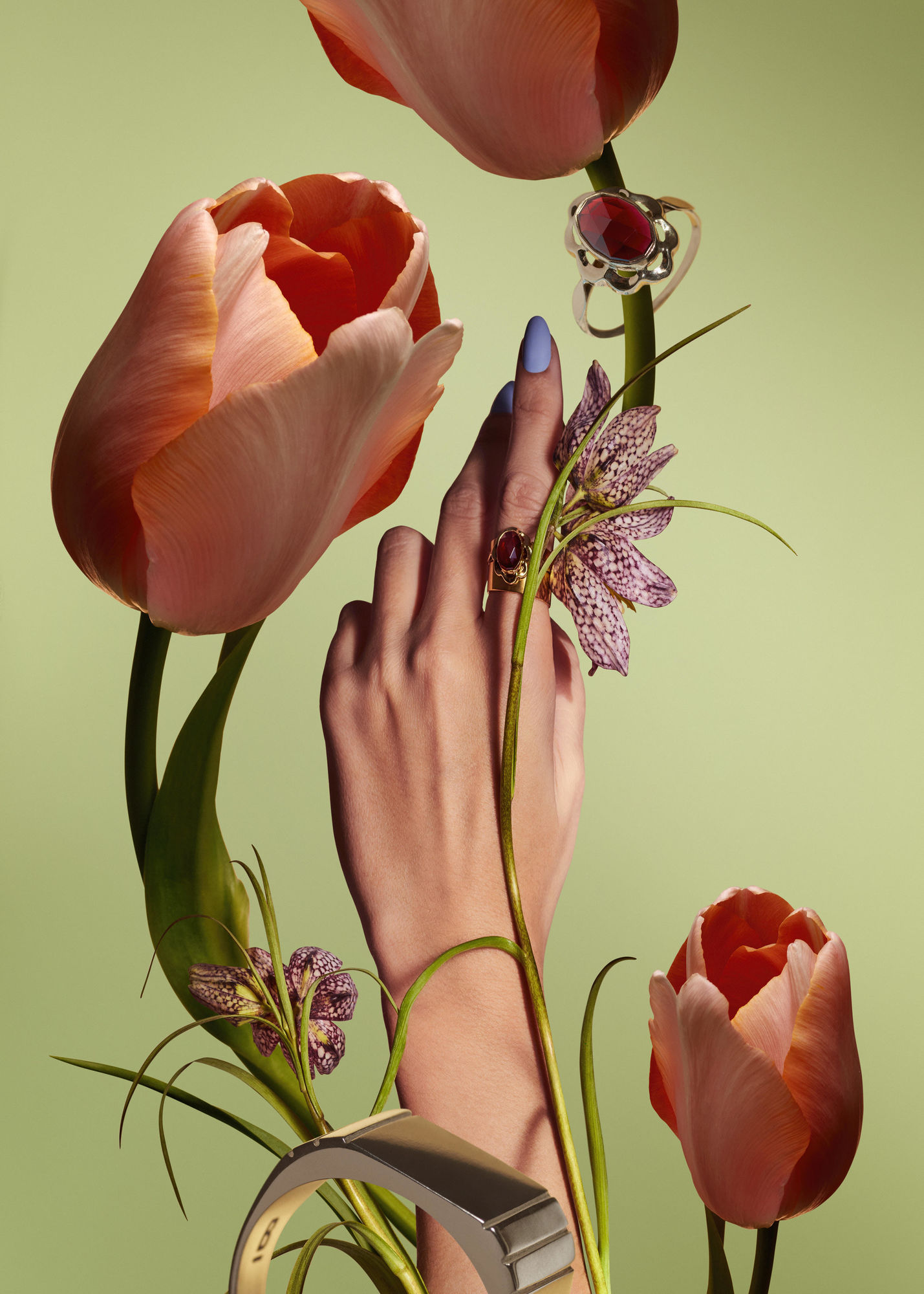 Mathilde Karrèr flowers and jewelery collage