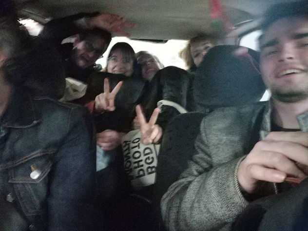 Selfie: 6 photographers in one little car at Belgrade Photo Month