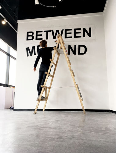 """installing my work for the exhibition """"On starting another conversation about comparative feminism"""""""