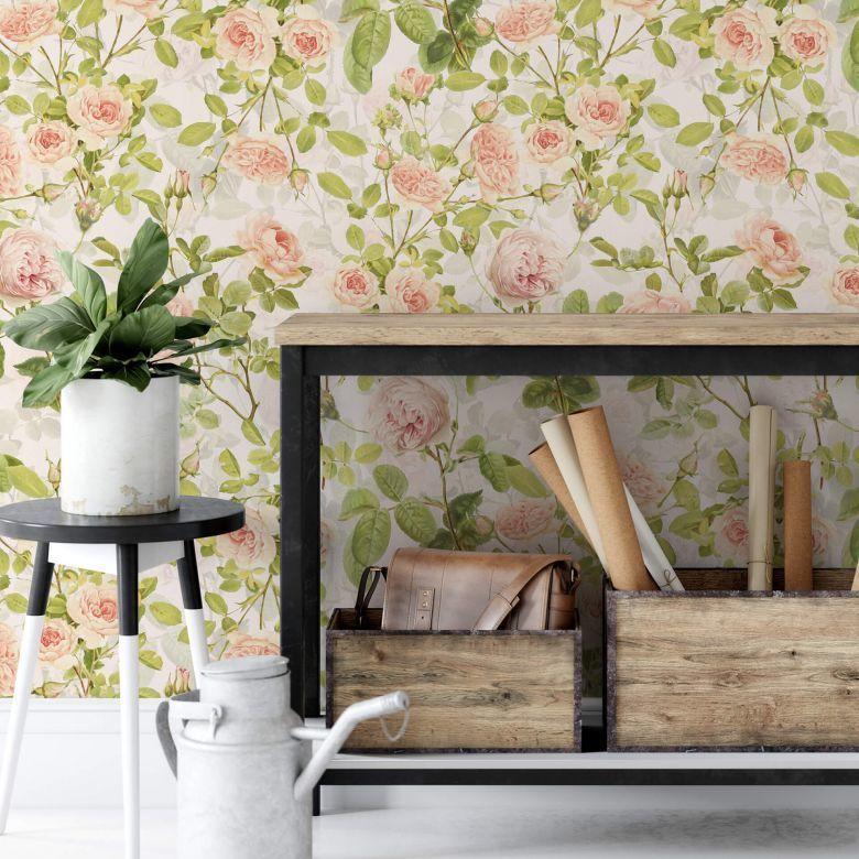 Mustertapete UN Designs - Rosenranken Zeitlos schönes Blumenmotiv zaubert eine romantische Stimmung in Ihrer Wohlfühlecke. https://www.wall-art.de/mustertapeten/mustertapete-un-designs-rosenranken-kt1167a.html