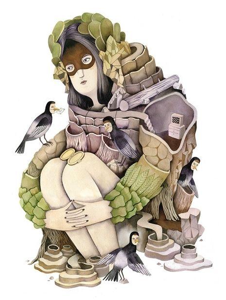 "COSMOPOLA    Illustration Artist Andrea Wan - ""Mirror Mirror"" Series, 2014"