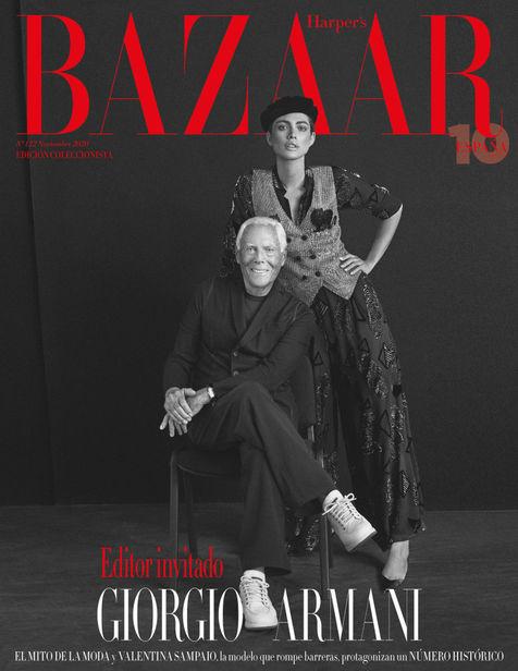 "ICONIC : Valentina Sampaio for Harper's Bazaar Spain Nov 2020 ""The Armani Issue"""