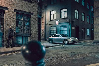 MARIUS KRUTSCHKE with a Porsche in London