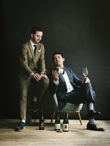 Dustin Aksland photographed Caleb Ganzer and Chad Walsh for Food and Wine's Sommeliers of the Year story