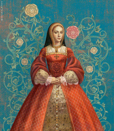 BALBUSSO TWINS Katherine Of Aragon portrait for SIX TUDOR QUEENS by Alison Weir