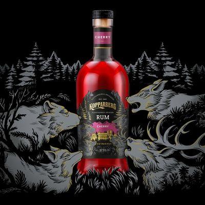 Kopparberg's new Cherry Spiced Rum packaging design by Iain Macarthur c/o JSR AGENCY