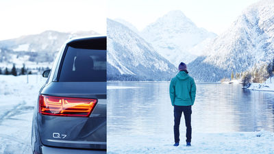 WE! SHOOT IT, Michael Compensis & Thomas von Salomon, Editorial for Audi Magazin, with Audi Q7 Etron and Severin Freund, in Garmisch and Oberstdorf