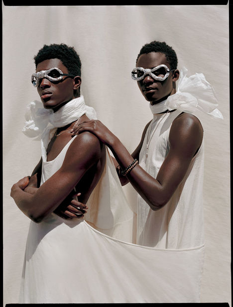 Micaiah Carter c/o GIANT ARTISTS photographed models Anarcius and Samb in Brooklyn, NY.