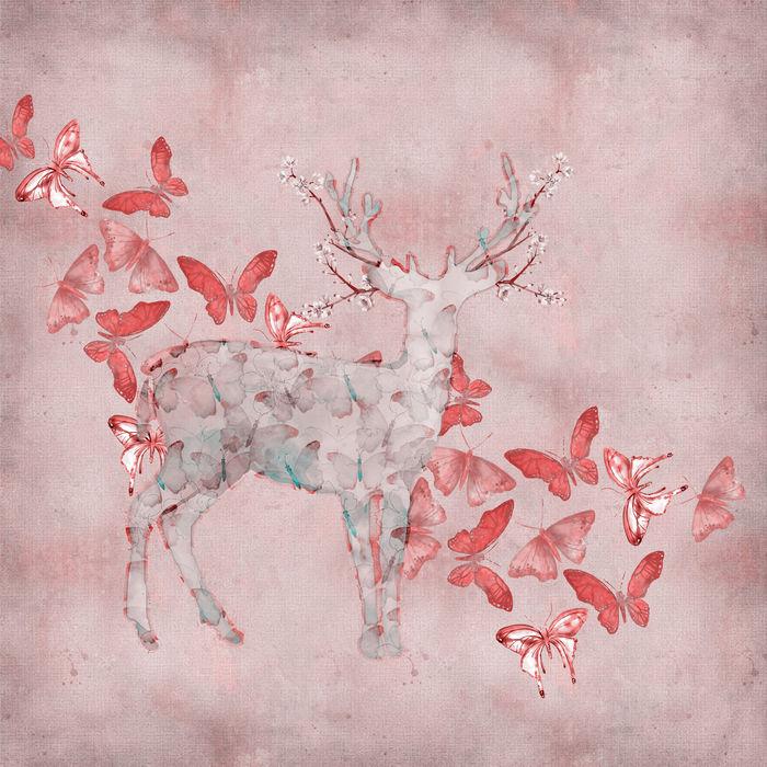 Deer Pink Romantic Mixed Media Art