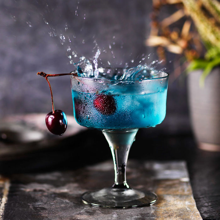 Blue Cherry Cocktail with Splash