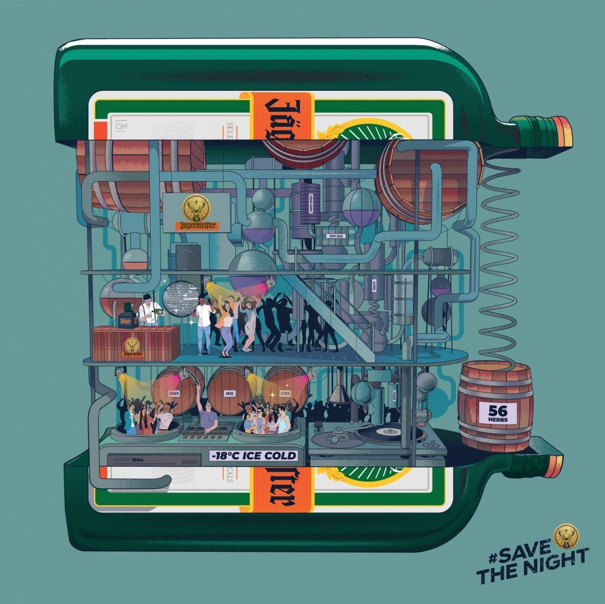 #savethenight initiative for Jägermeister illustrated by Musketon c/o JSR AGENCY