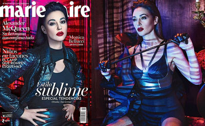 YVY - Monica Bellucci in MARIE CLAIRE Monica Belluci wears YVY s leather Brassiere