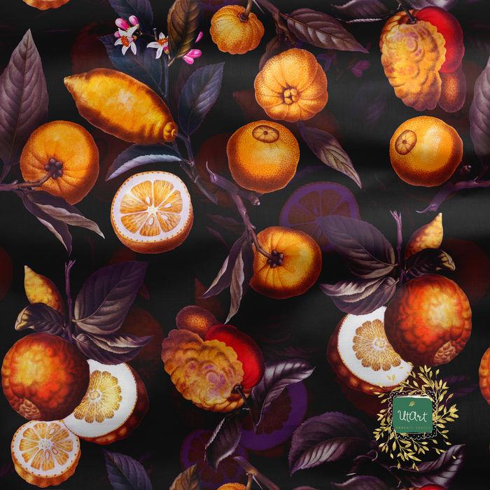 Vintage Sepia Citrus Fruit Pattern