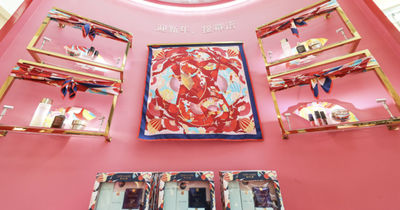 """Trajan Jia c/o JSR AGENCY for ESTEE LAUDER 'ased on the keywords for the Este Lauder's New Year Plan; """"Red,Fan and Travel"""", I created an artwork that related to China culture and also resonates with our studio's style. '"""