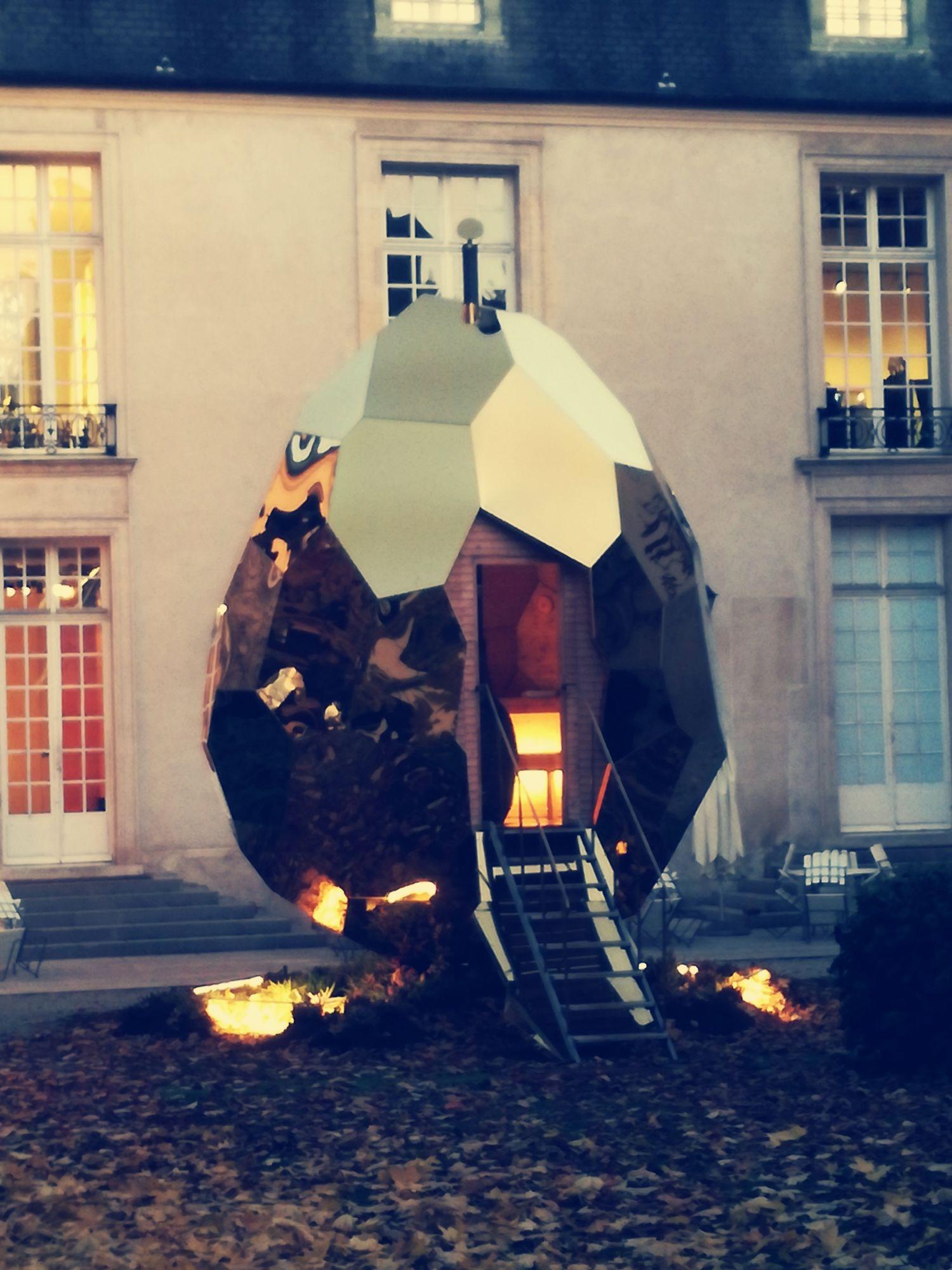 SOLAR EGG BY BIGERT & BERGSTRÖM IN THE GARDEN AT THE INSTITUT SUEDOIS PARIS