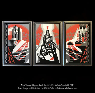 ©BALBUSSO TWINS Ayn Rand's Atlas Shrugged,  3-volume set Folio Society 2018 (illustrated book)