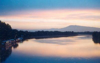 Sky at Sunrise,View on the River Rhône,from the Bridge of the Kingdom,Entering VILLENEUVE LES AVIGNON