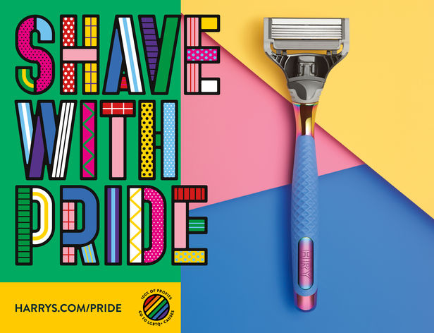 """Harry's teamed up with Justin Fantl c/o GIANT ARTISTS to showcase their new """"Shave with Pride"""" line with 100% of the profits going toward LGBTQ causes."""