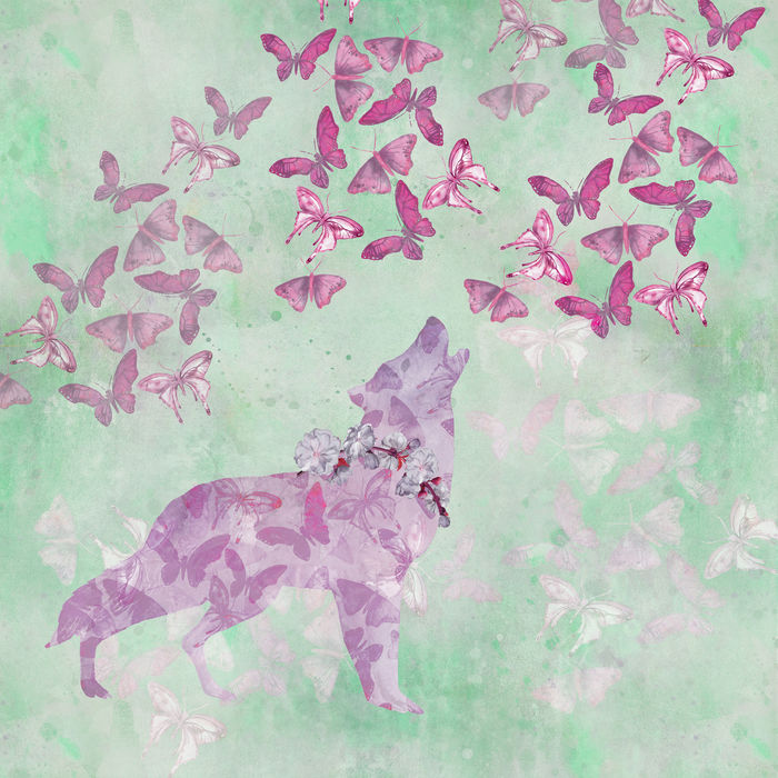 Wolf Butterfly Watercolor Mixed Media Art