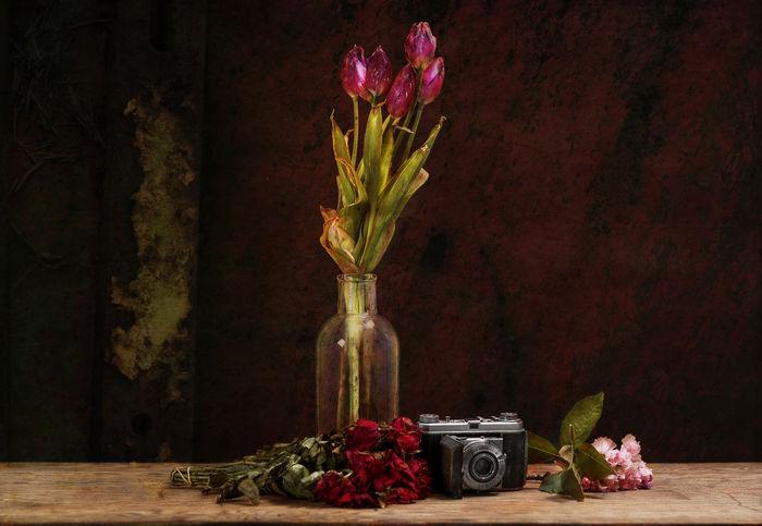 FRAWA Stillleben mit Tulpen, Kirsche und Rosen