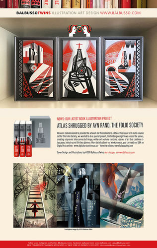 BALBUSSO TWINS - Atlas Shrugged, by Ayn Rand book illustration project for The Folio Society