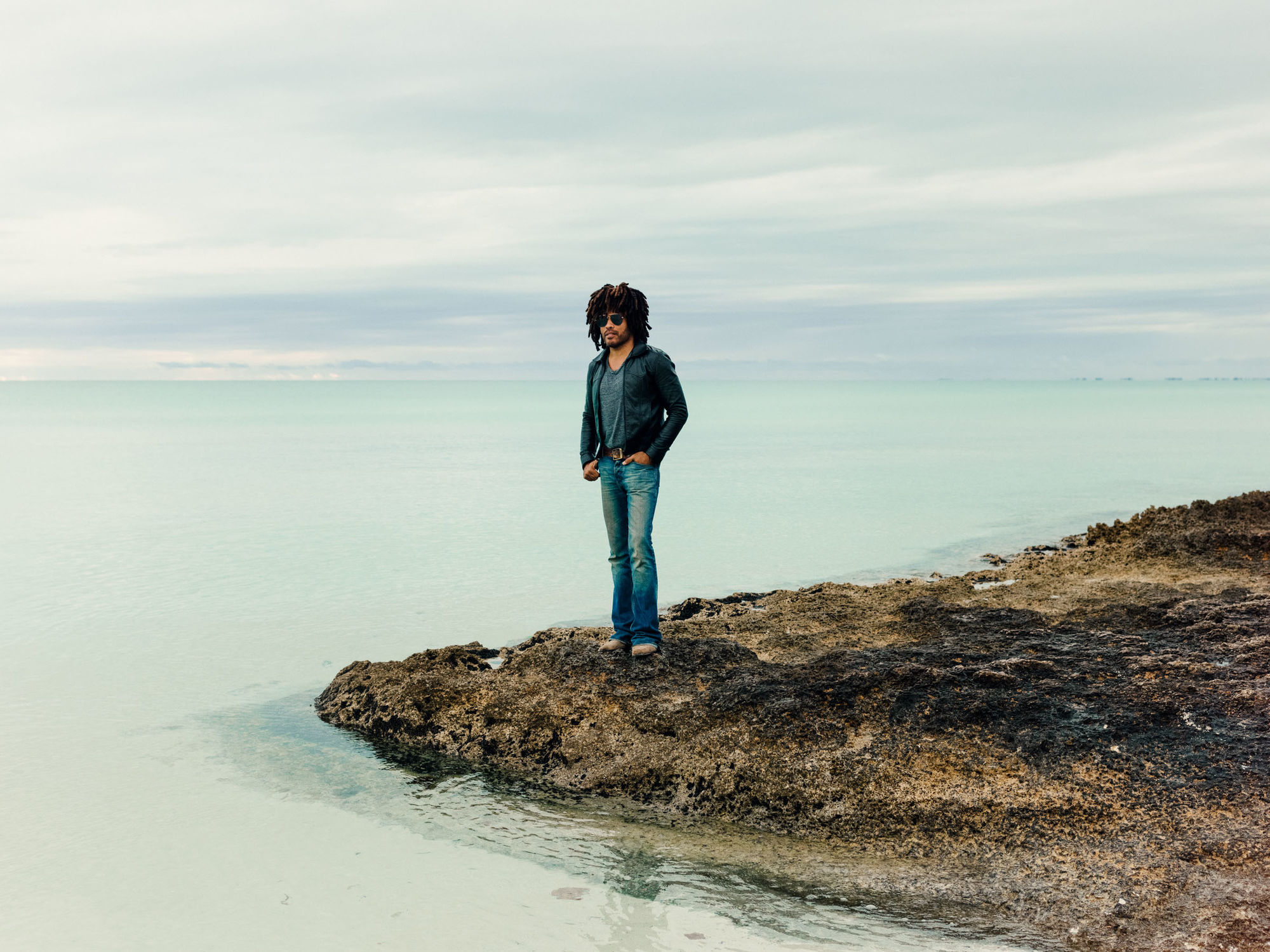 João Canziani c/o GIANT ARTISTS photographed musician Lenny Kravitz at his home recording studio on the rural Bahamian island of Eleuthera for People Magazine