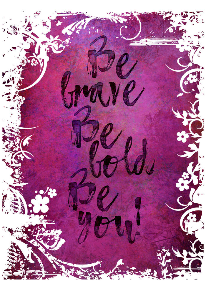 Watercolor Typography Quote Be Brave