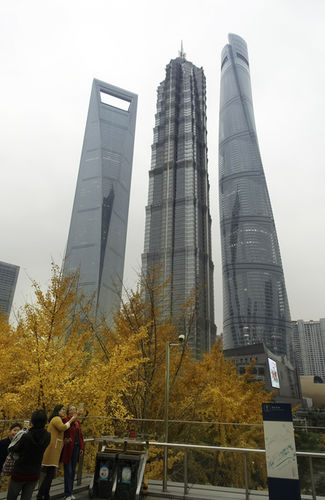 Shanghai autumn with the 3 tallest buildings in the city and the 2nd tallest in the world