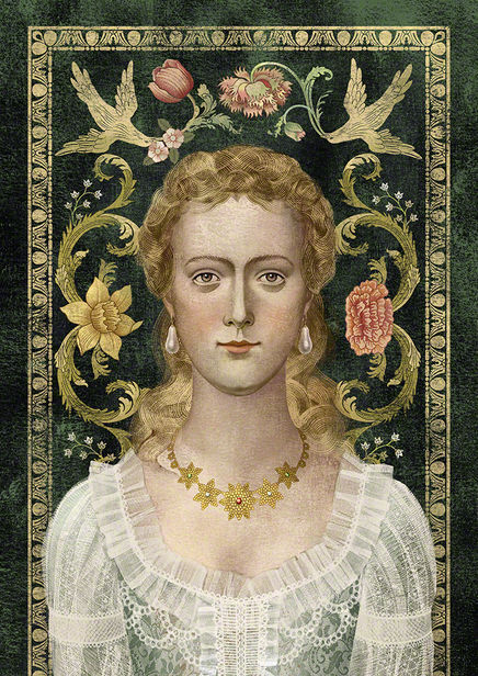 BALBUSSO TWINS Marie Delany English artist, Portrait for the book The History of the Merrion Hotel, Design HQ, Ireland